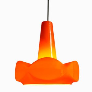 Vintage Orange Opaline Glass Pendant Lamp, 1960s