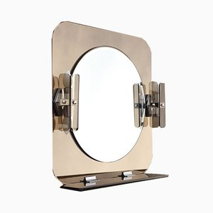 Large Smoked 4-Light Mirror from ISA, Italy, 1980s