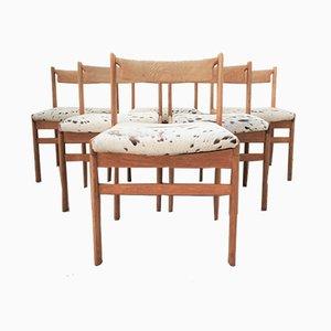 Brutalistische Esszimmerstühle aus heller Eiche, 1970er, 6er Set