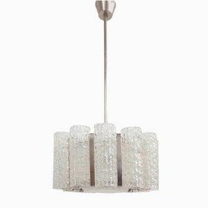 Murano Glasröhre und Metall Chrom Hängelampe von Venini, 1960er