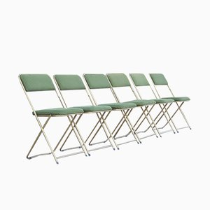 Folding Chairs in Green Velvet from Lafuma, France, 1960s, Set of 6