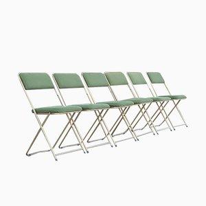 Klappstühle in Grünem Samt von Lafuma, Frankreich, 1960er, 6er Set