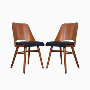 Mid-Century Czech Beech and Blue Fabric Model 514 Dining Chairs by Radomir Hofman for TON, 1964, Set of 6