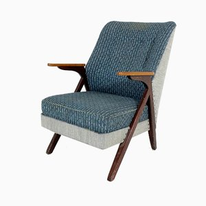 Scandinavian Blue Gray Lounge Chair, 1960s