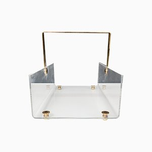 Vintage Lucite and Brass Magazine Rack by David Lange, 1972