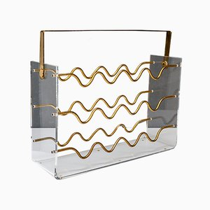 Lucite and Brass Wine Rack by David Lange, 1972