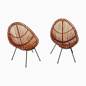 Chaises en Rotin et en Bambou par Franco Albini, Italie, 1950s, Set de 2
