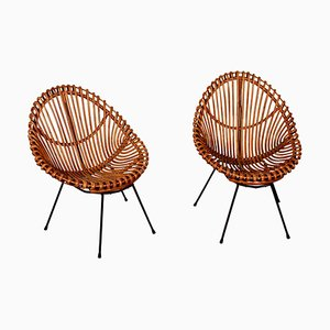 Italian Rattan and Bamboo Chairs by Franco Albini, 1950s, Set of 2