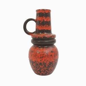 Large German Red and Black Ceramic Vase, 1960s