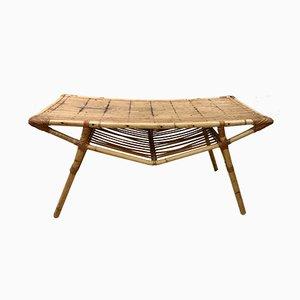 Table Basse Rectangulaire Vintage en Osier, 1950s
