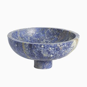 Portafrutta in marmo blu di Karen Chekerdjian, Made In Italy