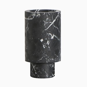 Black Marble Vase by Karen Chekerdjian, Made In Italy