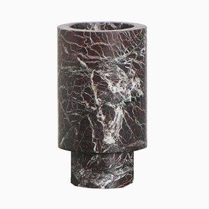 Rote Marmor Vase von Karen Chekerdjian, Made In Italy