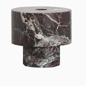 Red Marble Candleholder by Karen Chekerdjian, Made In Italy
