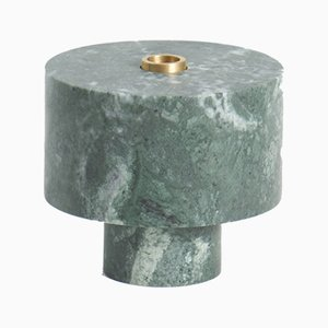 Candelabro de mármol verde de Karen Chekerdjian, Made In Italy