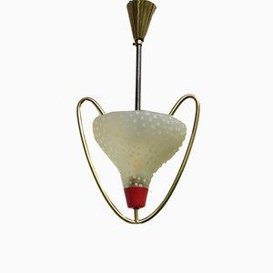 Kleine Italienische Deckenlampe aus Messing & Glas, 1950er