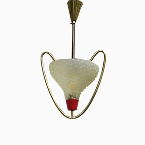 Small Italian Brass and Glass Ceiling Lamp, 1950s