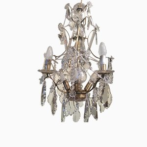 Crystal and Brass Chandelier, 1920s
