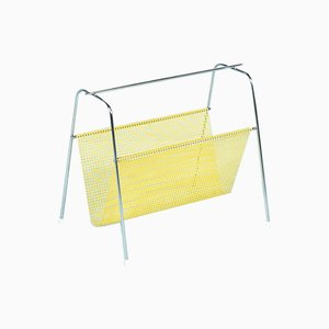 Vintage Perforated Metal and Chrome Magazine Rack from Pilastro, 1950s