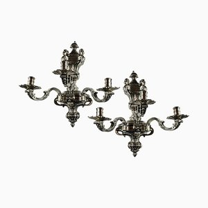 Antique English Silver Plated Bronze Sconces, Set of 2
