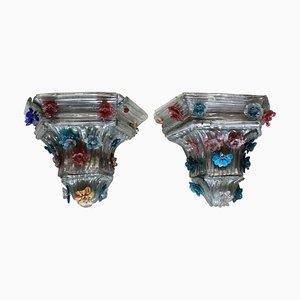 Vintage Murano Glas Wandhalterungen, 2er Set