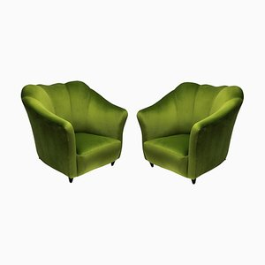 Mid-Century Apple Green Velvet Armchairs, Set of 2