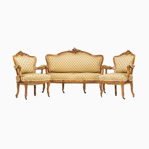 Antique Rococo Style Living Room Set, 1890s, Set of 3