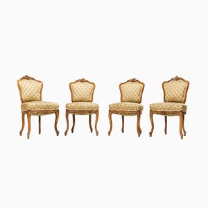 Antique Rococo Style Dining Chairs, 1890s, Set of 4