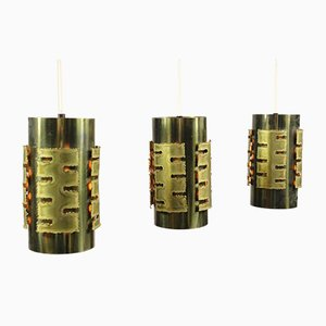 Vintage Brutalist Pendant Lamps by Svend Aage Holm Sorensen for Holm Sørensen & Co, 1970s, Set of 3