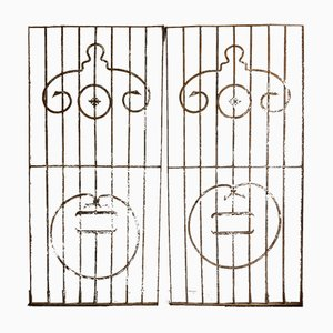 Large Antique Wrought Iron Door Grilles, Set of 2