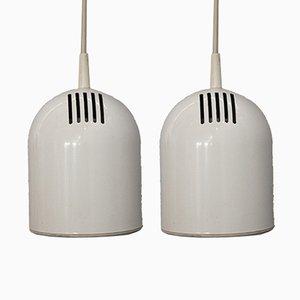 Weiße Deckenlampen, 1970er, 2er Set