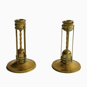 Brass Candleholders from Taidetakomo Hakkarainen, 1940s, Set of 2