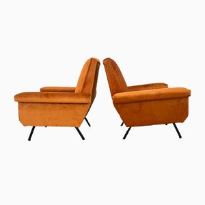 Vintage Velvet Lounge Chairs by Marco Zanuso, 1960s, Set of 2