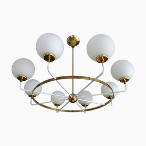 Large Italian Brass and Glass Sputnik Globes Chandelier, 1950s
