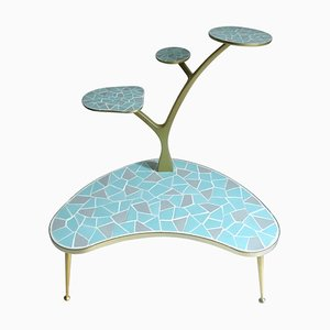 Large Mid-Century Anodized Aluminum and Ceramic Tiles Tree Design Plant Stand, 1960s
