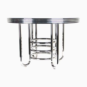 Large Art Deco Dining Table with Chrome Rings