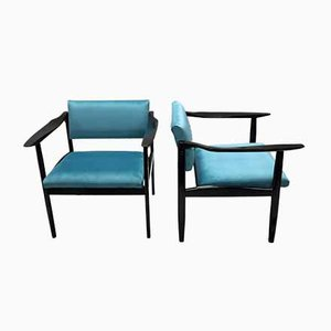 Mid-Century Italian Ebonized Armchairs, 1960s, Set of 2