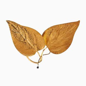 Vintage Italian Double Golden Leaf Sconce from Tommaso Barbi, 1970s