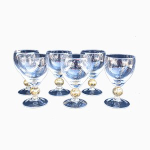 Mid-Century Murano Glass Water Glasses, Set of 6