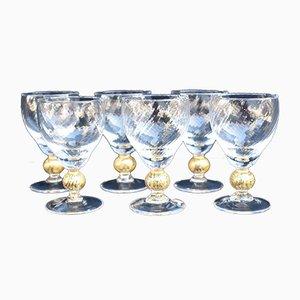 Mid-Century Murano Glass Wine Glasses, Set of 6