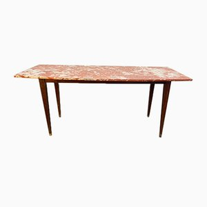 French Red Marble Dining Table, 1950s