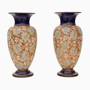 Große Jugendstil Vasen von Royal Doulton, 2er Set