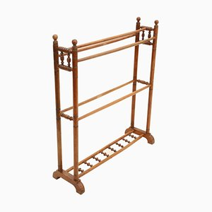 Antique Victorian Walnut Towel Rail Stand, 1890s
