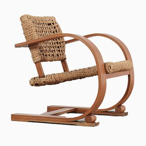 French Rope Easy Chair by Adrien Audoux & Frida Minet for Vibo, 1940s
