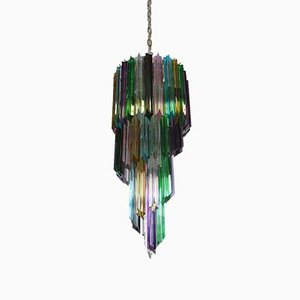 Multi Colored Murano Glass Spiral Chandelier, 1980s