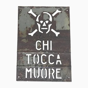 Italian Perforated Metal Chi Tocca Muore or Danger High Voltage Sign, 1950s