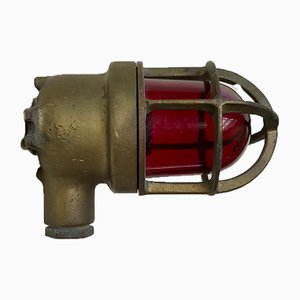 Vintage Industrial Brass and Red Glass SOS Alarm Sconce, 1940s