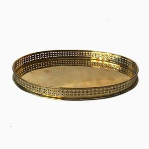 Mid-Century Brass Oval Serving Tray by Jacob Worm for Jacob Worm, 1960s