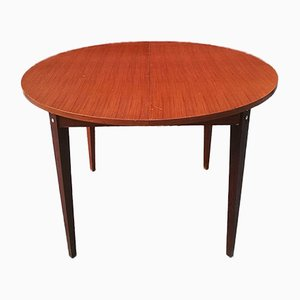Italian Adjustable Round Wooden Dining Table, 1960s