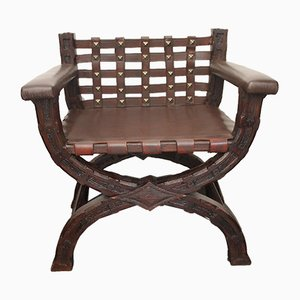 Antique Leather Scissor Armchair